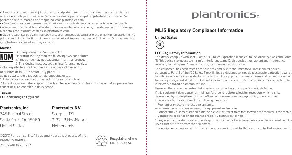 Plantronics FITE15 Bluetooth headset User Manual 200618 02 ML15 GSG