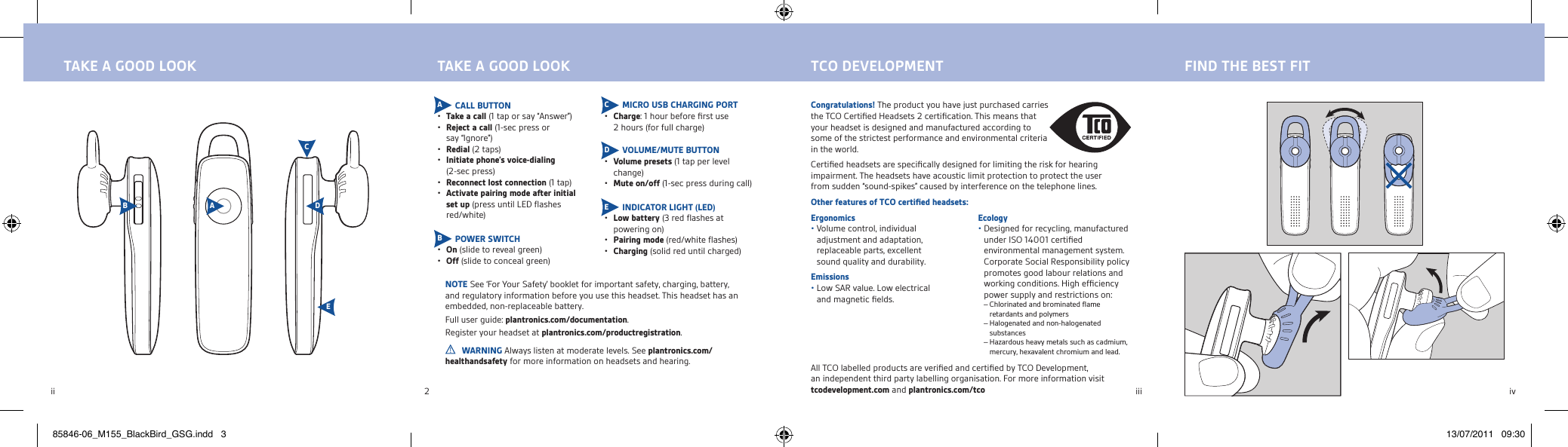 Plantronics M155 Bluetooth headset User Manual Manual