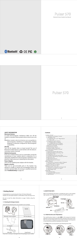 Plantronics P570 Bluetooth Headset User Manual