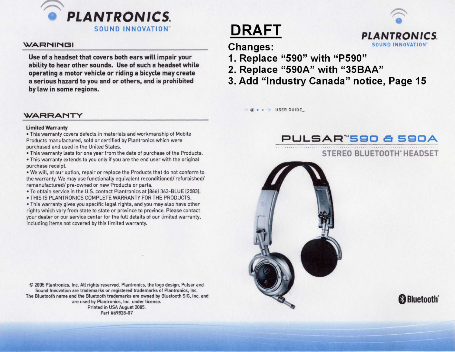 Plantronics P590 Bluetooth Headset User Manual