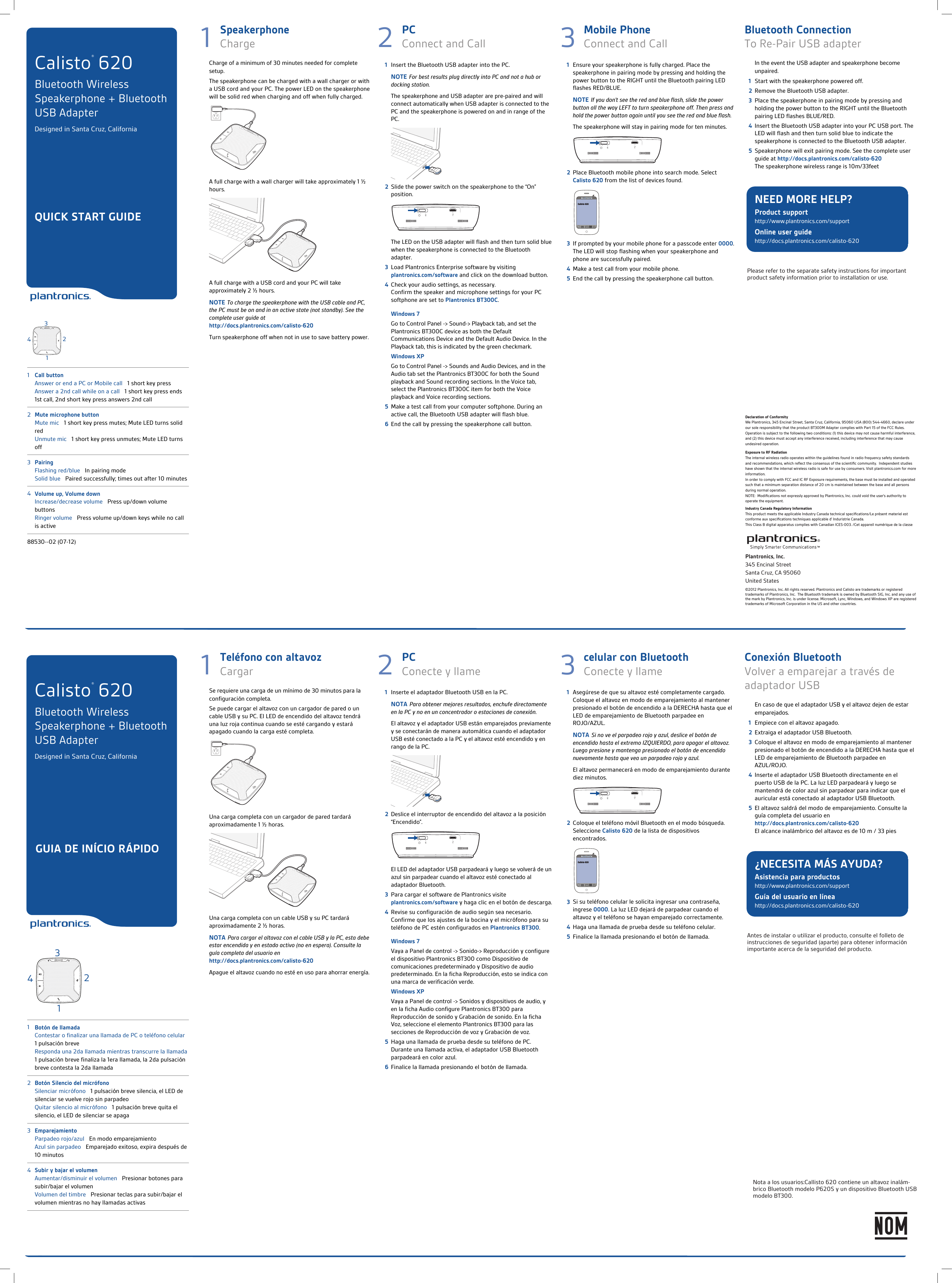 Plantronics P620s Bluetooth Speakerphone User Manual