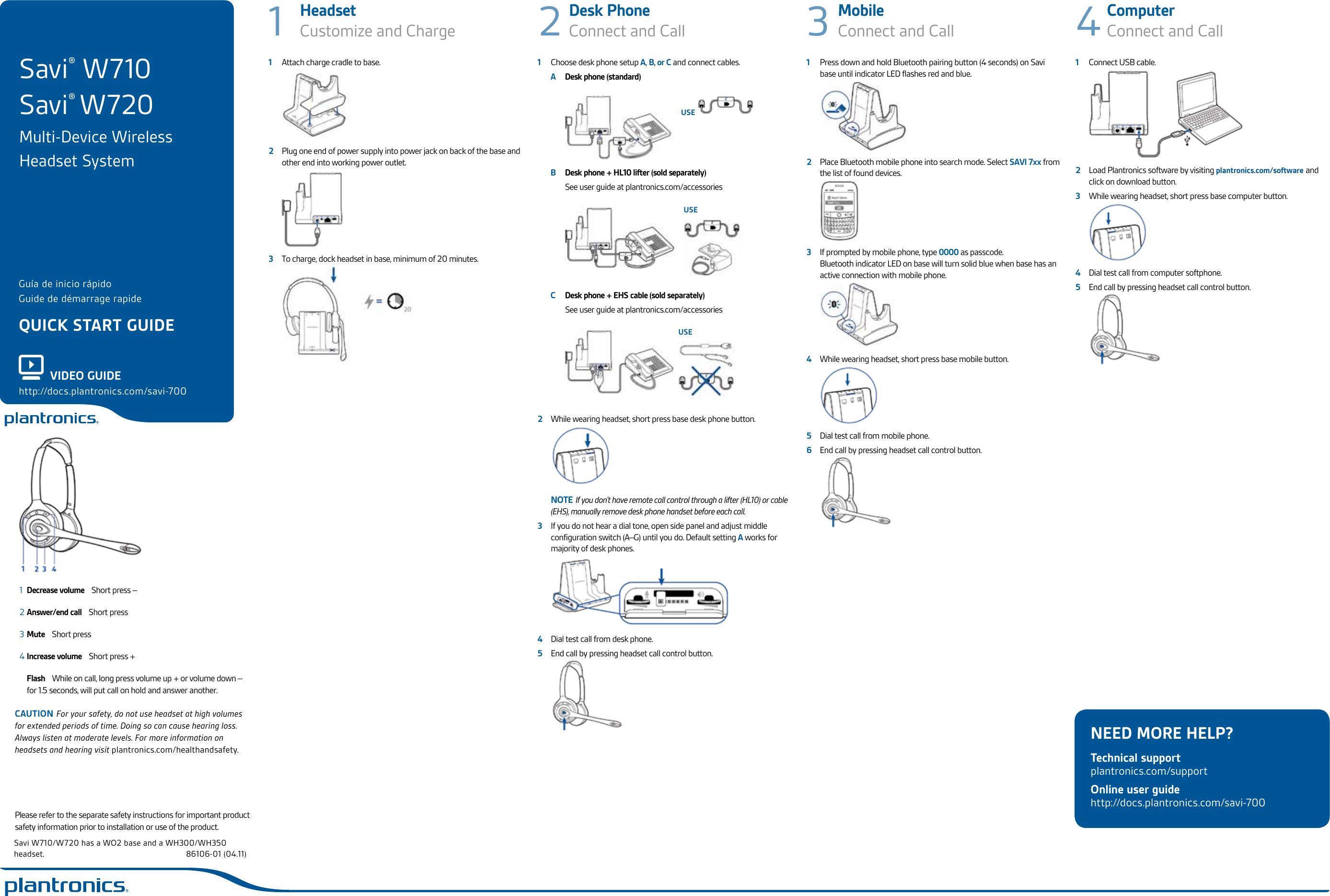 Plantronics Bluetooth Headset W710 Users Manual