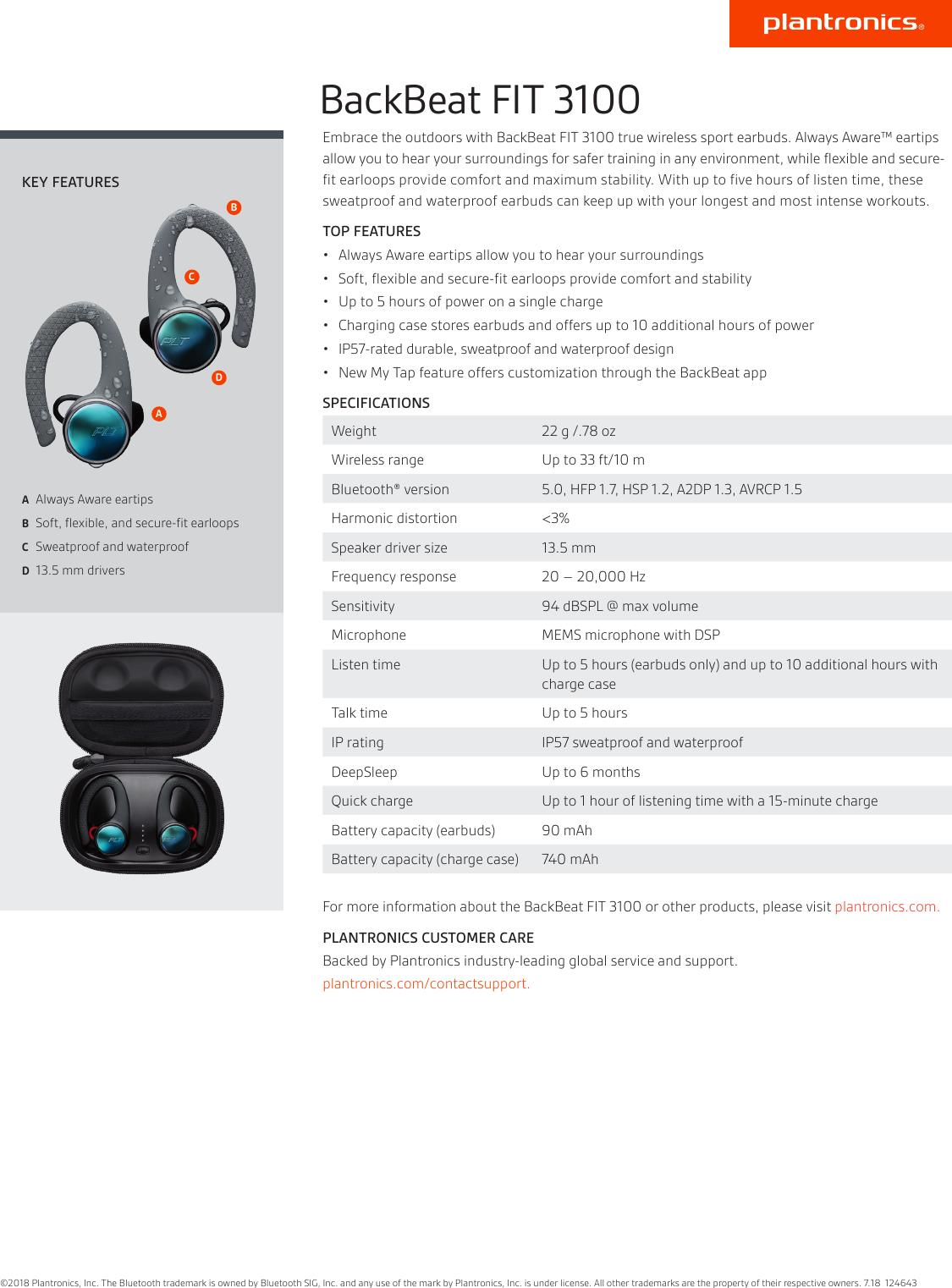 Plantronics Backbeat Fit 3100 Ps