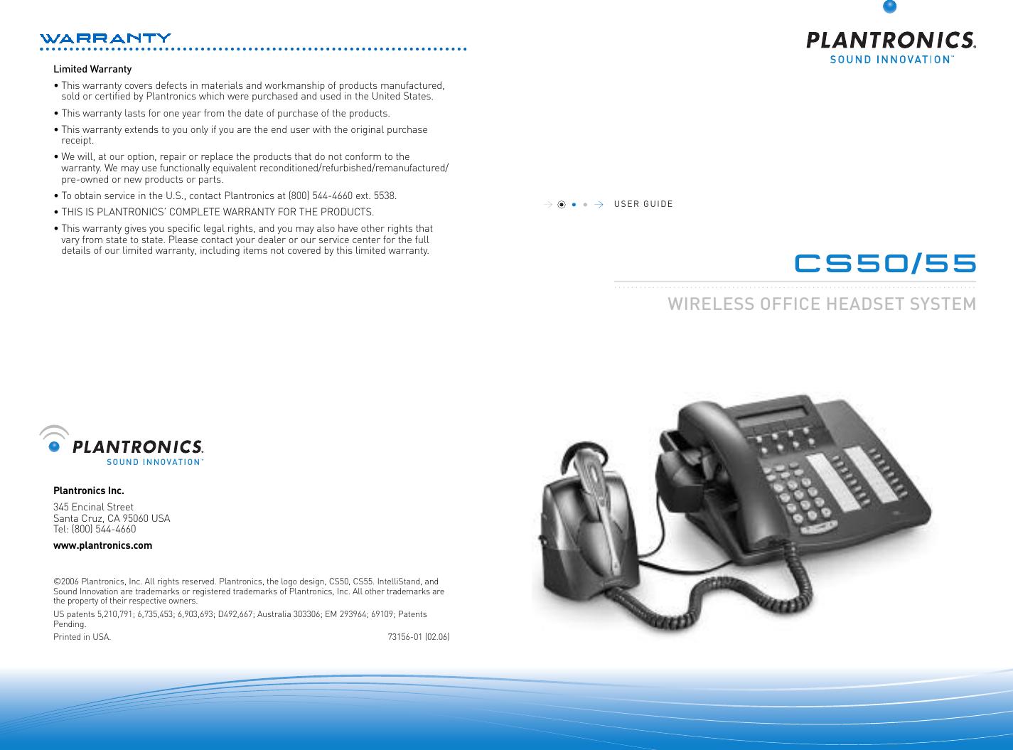 Plantronics User Guide For Cs55 And Cs50 55 Ug