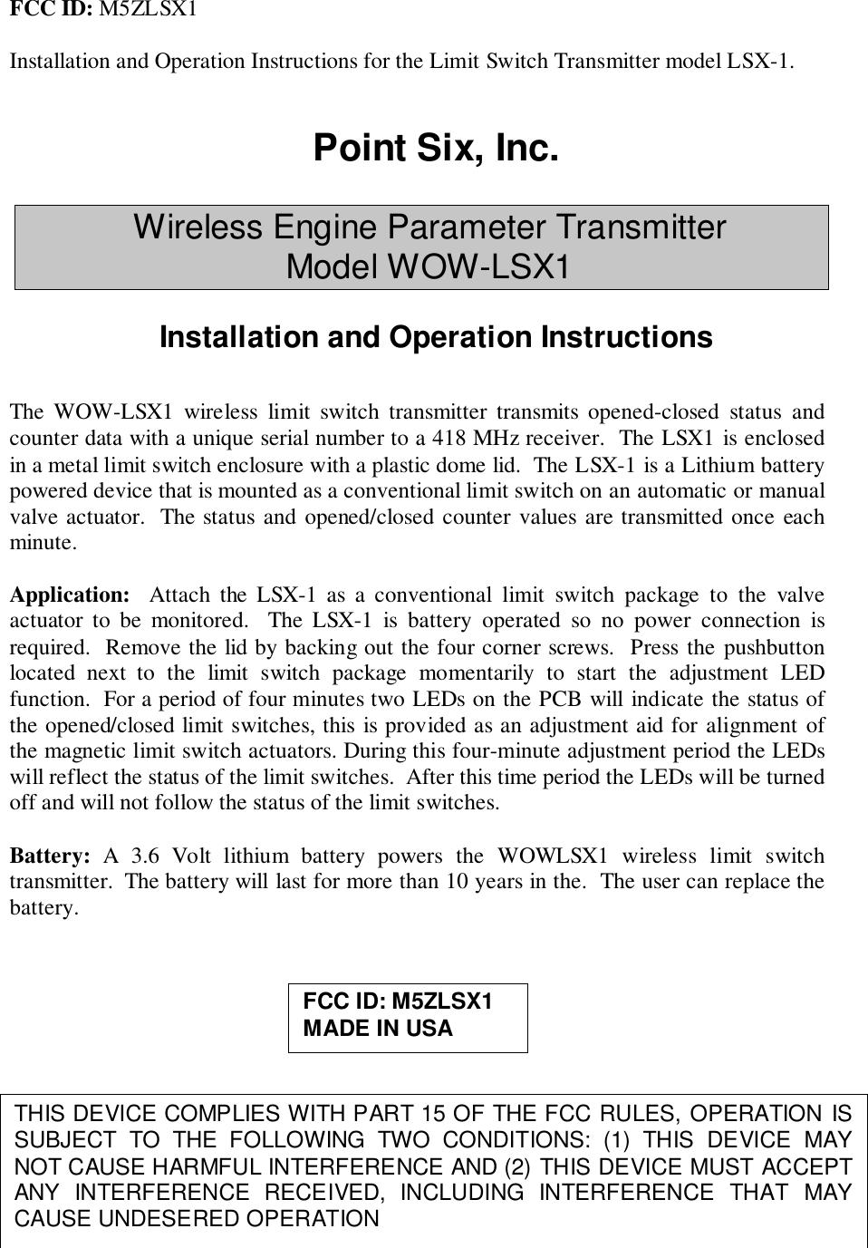 Point Six Wireless LSX1 Wireless limit switch User Manual