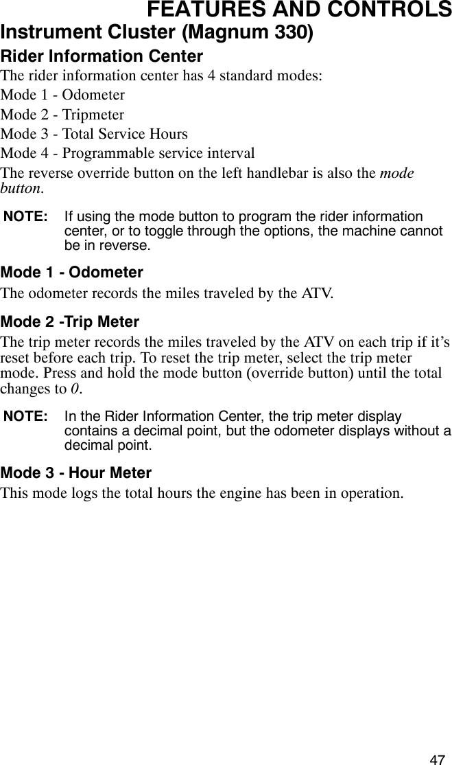 Polaris Magnum 330 2X4 Users Manual