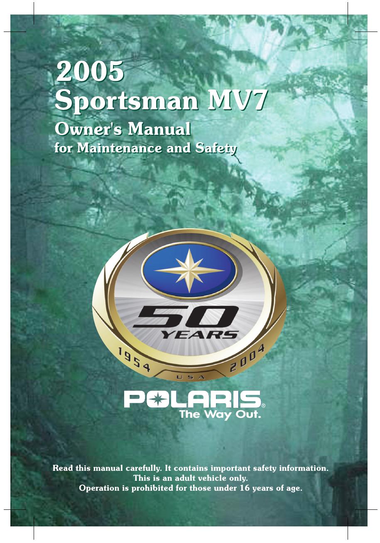 Polaris Sprotsman Mv7 Users Manual