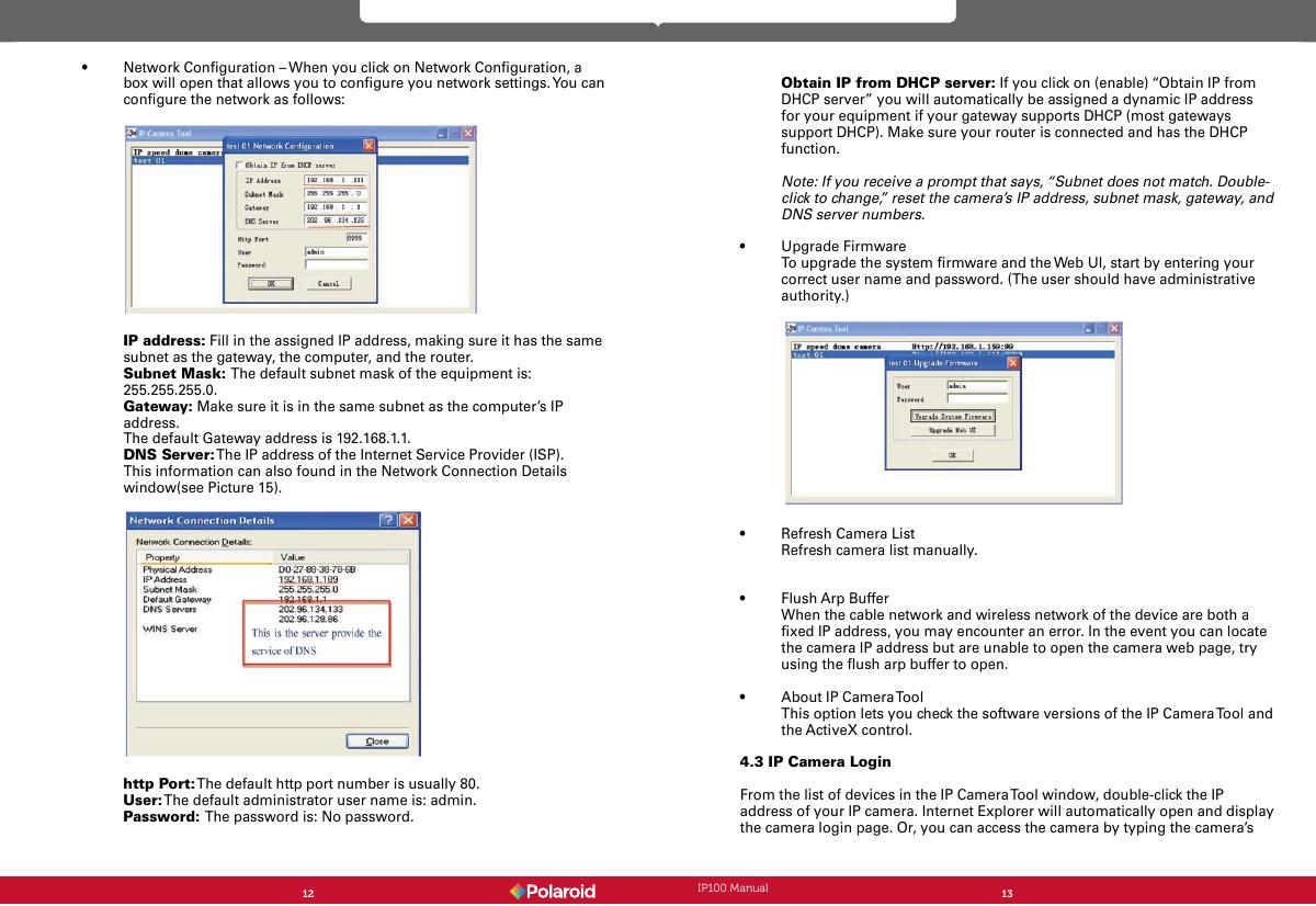 Polaroid Security Camera Ip100 Users Manual