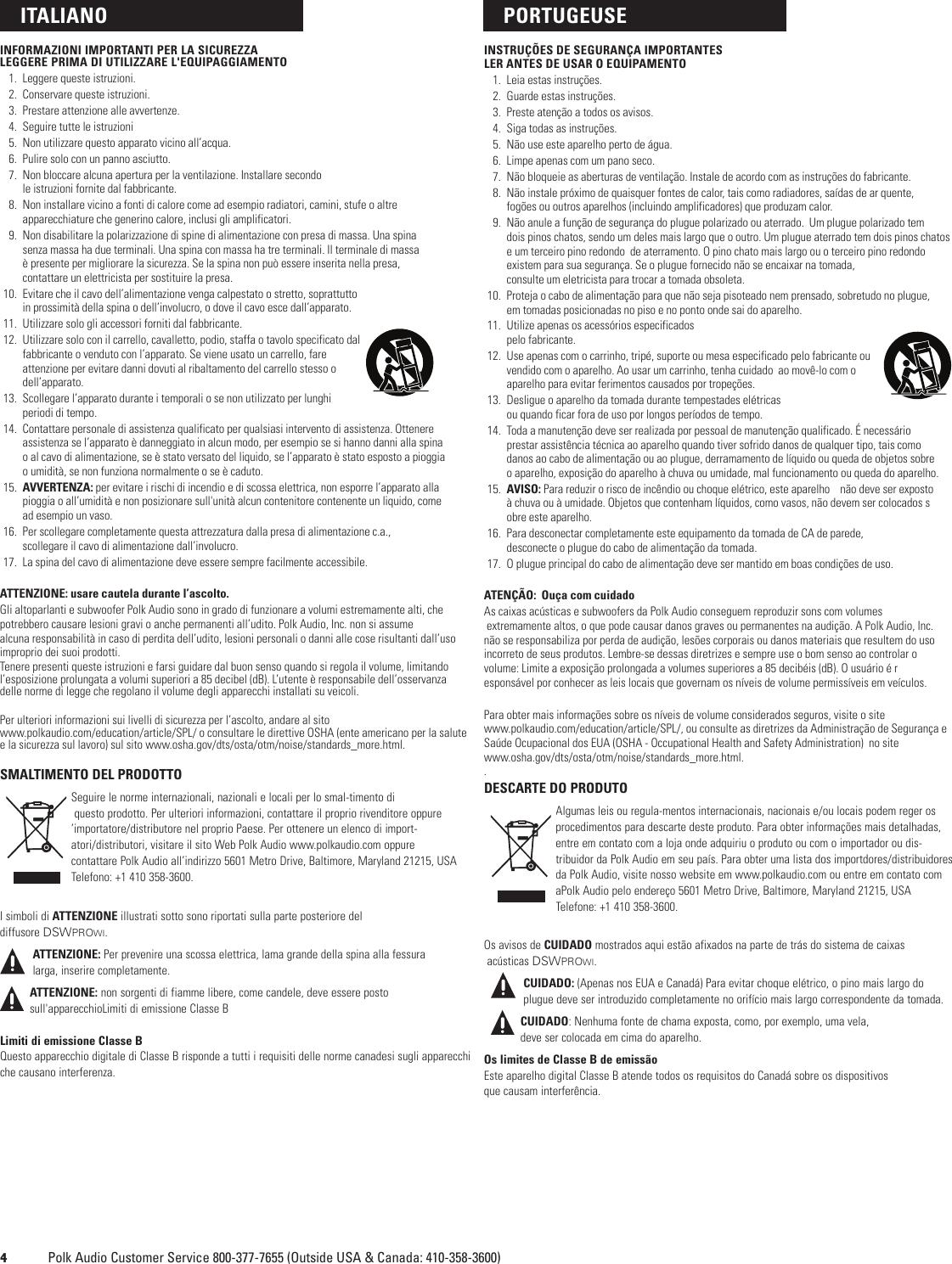 Polk Audio Dsw Pro 440Wi Users Manual