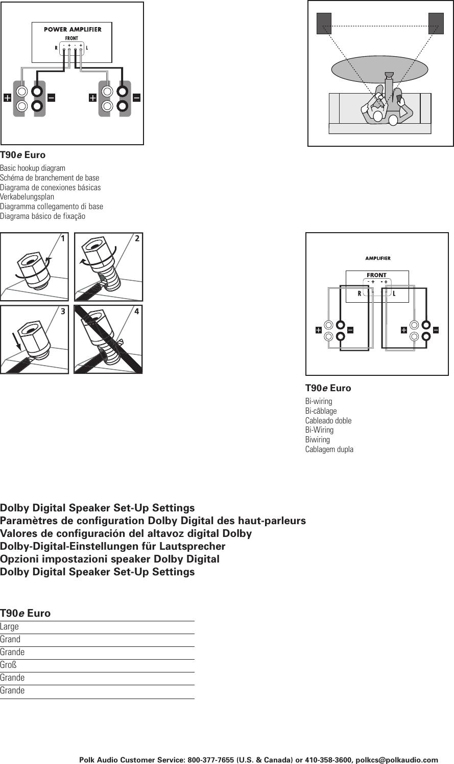 Polk Audio Polkaudio T90 Users Manual Wiring Diagram Page 2 Of 4