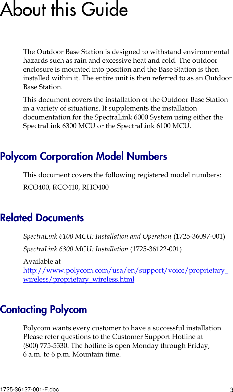 Polycom Spectralink 6000 Users Manual Installing The Outdoor