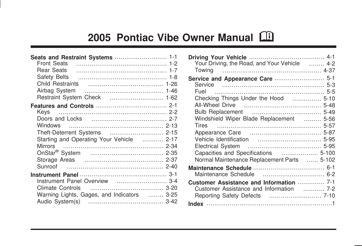 Pontiac 2005 vibe owners manual owners sciox Gallery