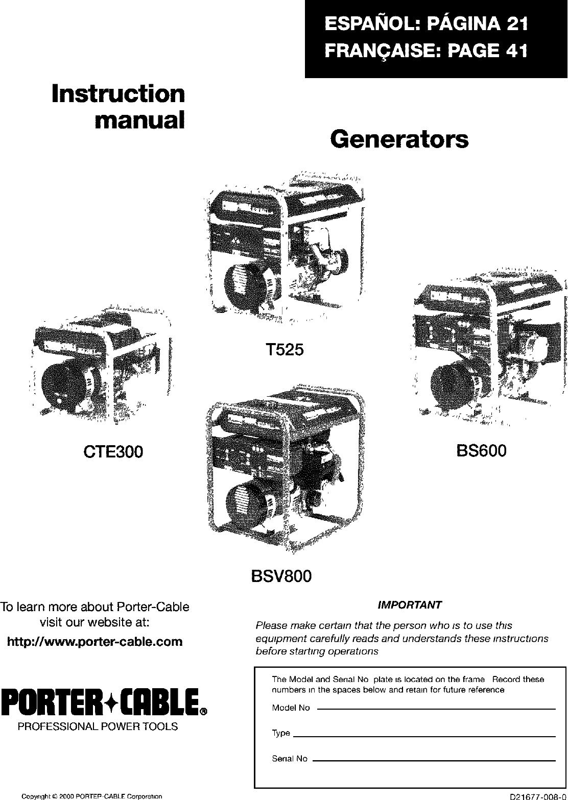 Porter Cable Bs600 W 1 User Manual Generator Manuals And Guides L0402317