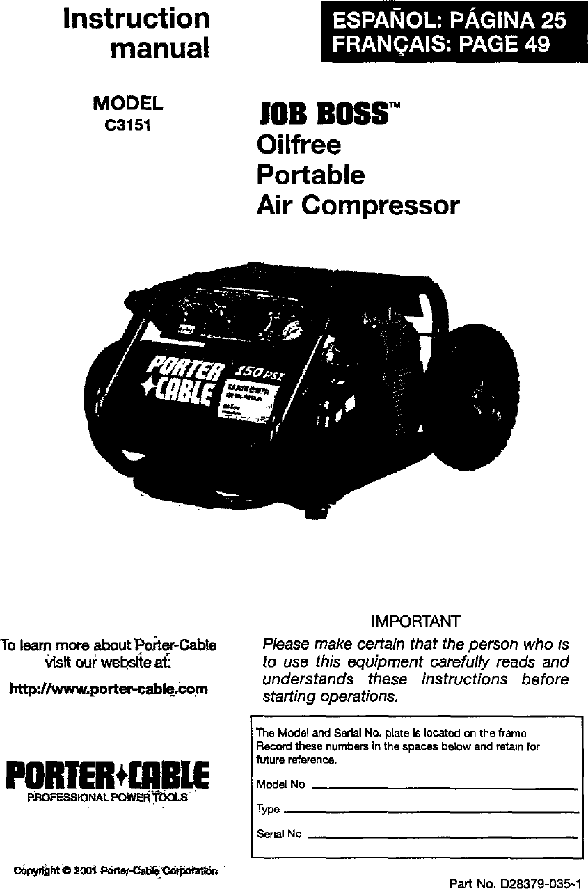Porter Cable C3151 User Manual Air Compressor Manuals And Guides L0404295