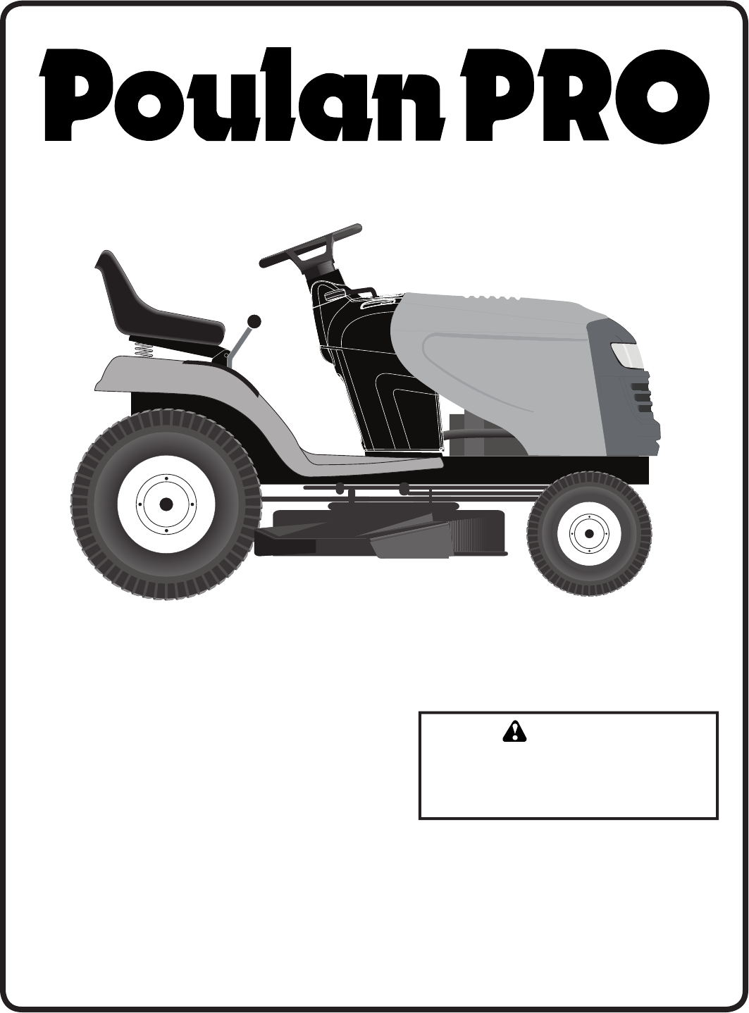 Poulan Pro Pb195a42lt Users Manual Om 2010 10 Tractors Riding Lawn Mower Wiring Diagram Ride Mowers 96048000400