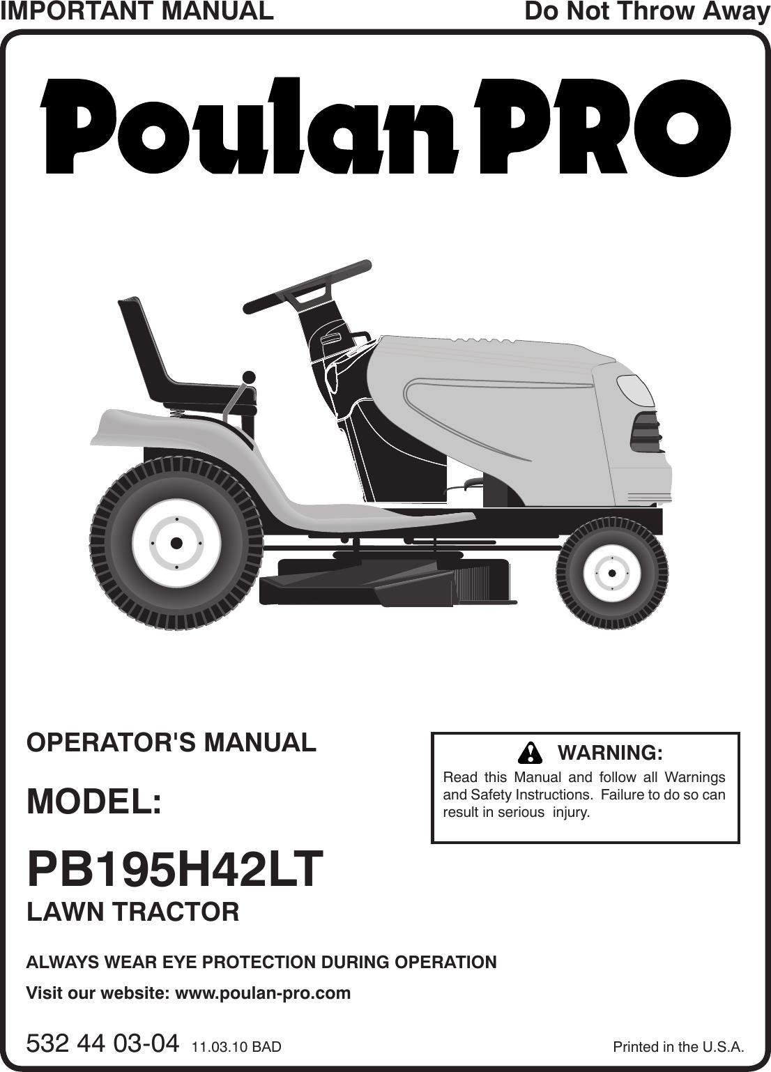Poulan Pro Pb195H42Lt Users Manual OM, PB195H42LT, 2010 11