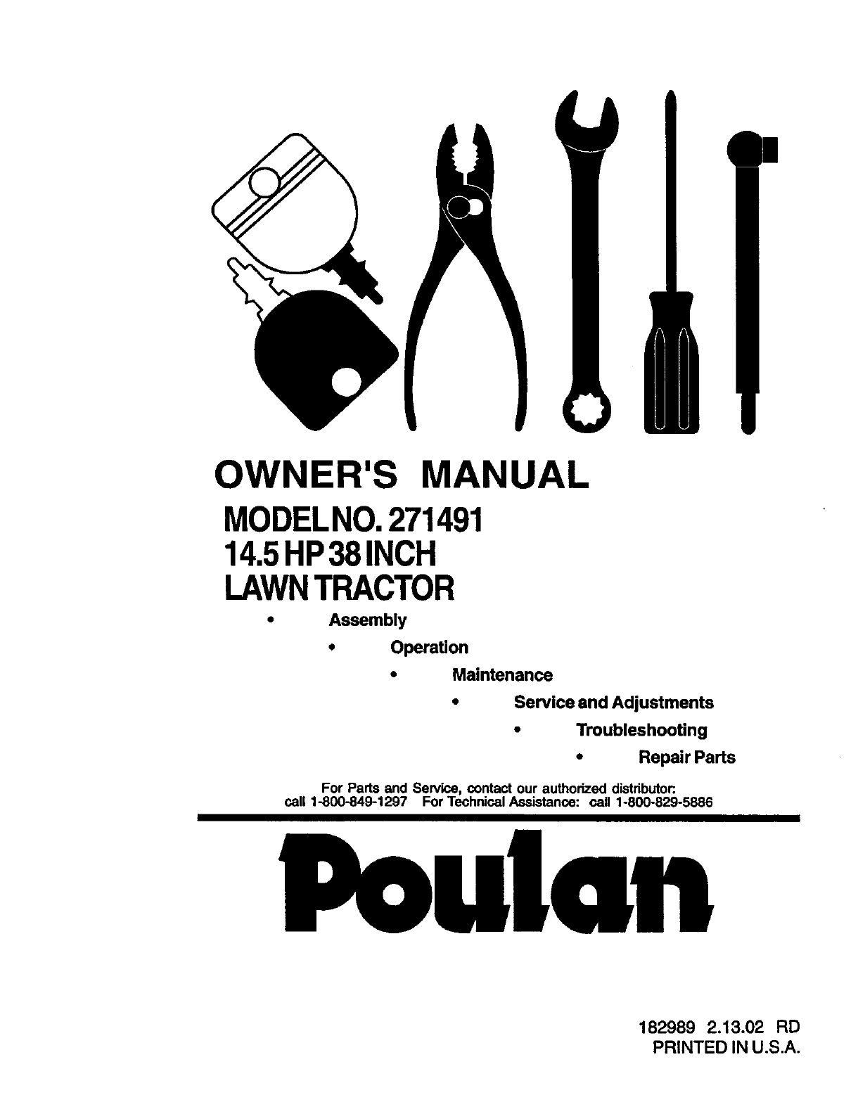 Poulan 271491 User Manual Lawn Tractor Manuals And Guides L0203207 14 5hp Wiring Diagram