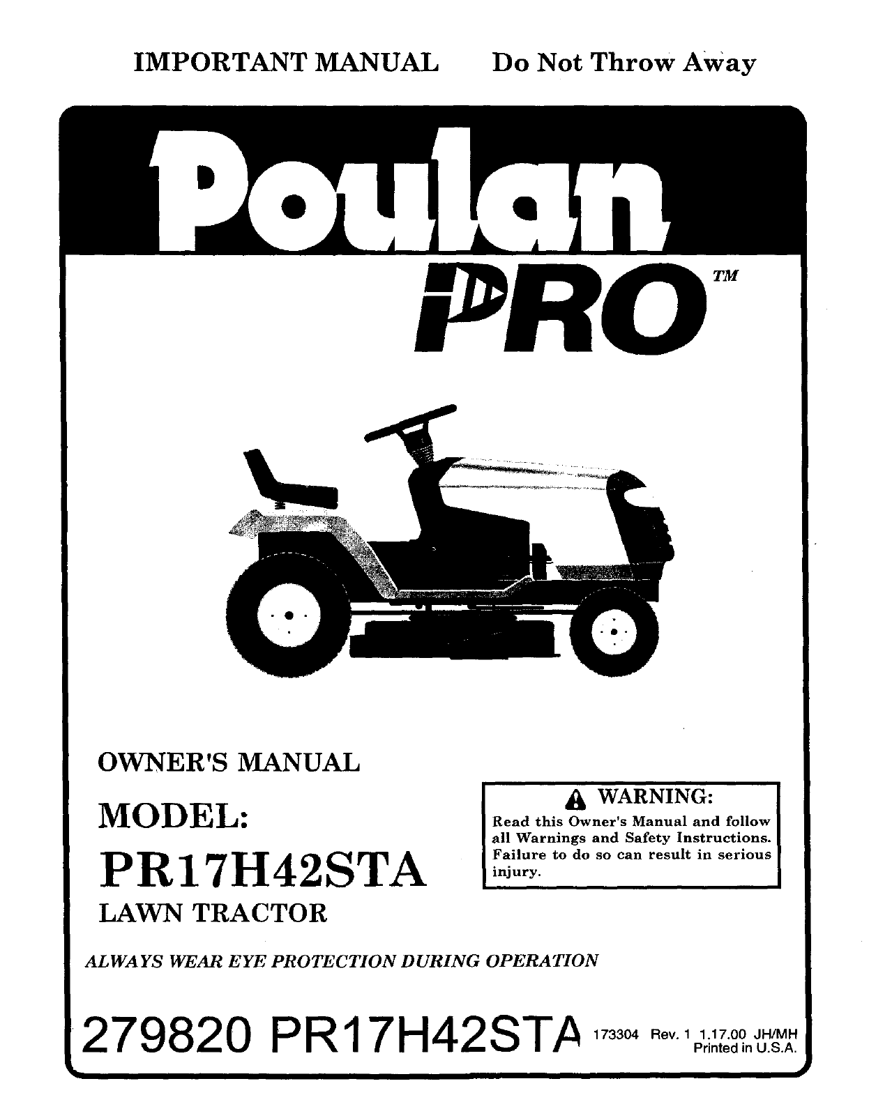 Poulan 917279820 User Manual Lawn Tractor Manuals And Guides L0011219 Wiring Schematics