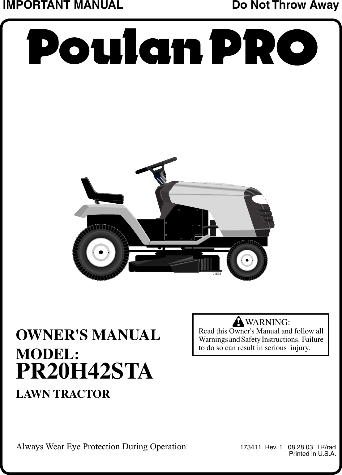 Poulan Pr20h42sta 2003 08 Owners Manual Om Tractors Wiring Diagram For Lawn Mower Ride