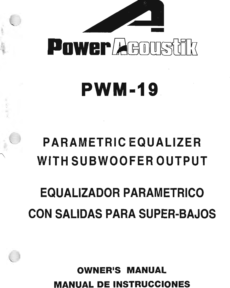 Power Acoustik Pwm 19 Users Manual Equalizer Wiring Diagrams