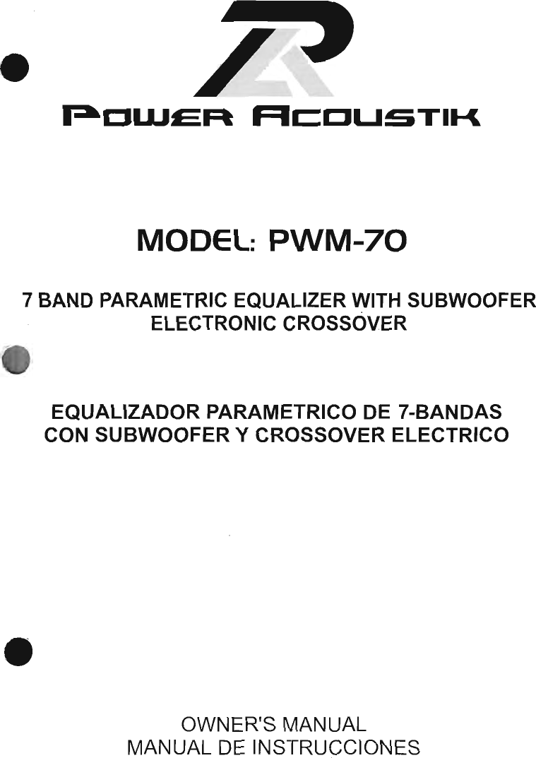 Power Acoustik Pwm 70 Users Manual Equalizer Wiring Diagrams
