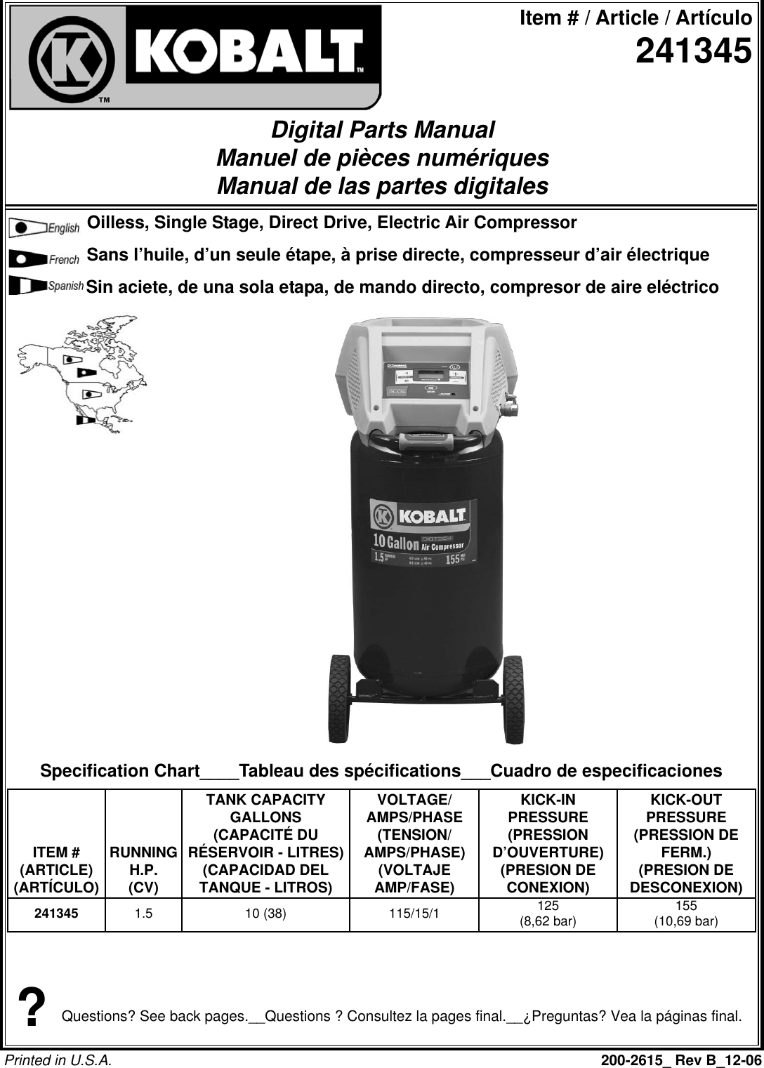 Powermate Kla1581009 Parts List 200 2615 B
