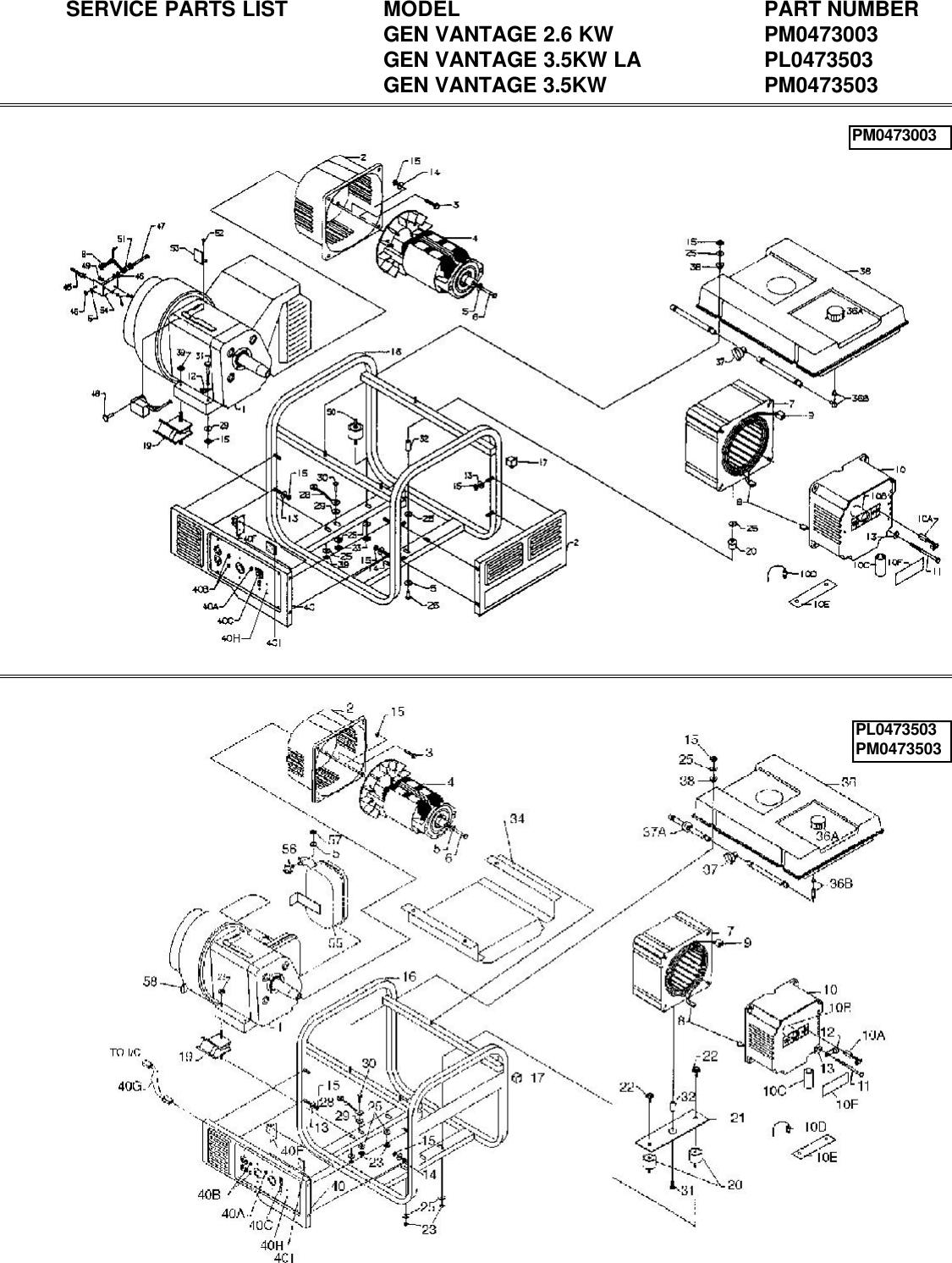 Powermate Pl0473503 Parts List PM0473003 3503 DIAGRAM on