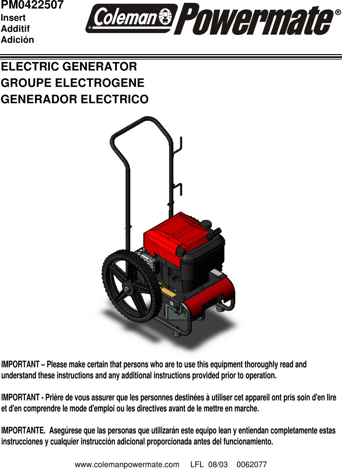 Powermate Pm0422507 Users Manual