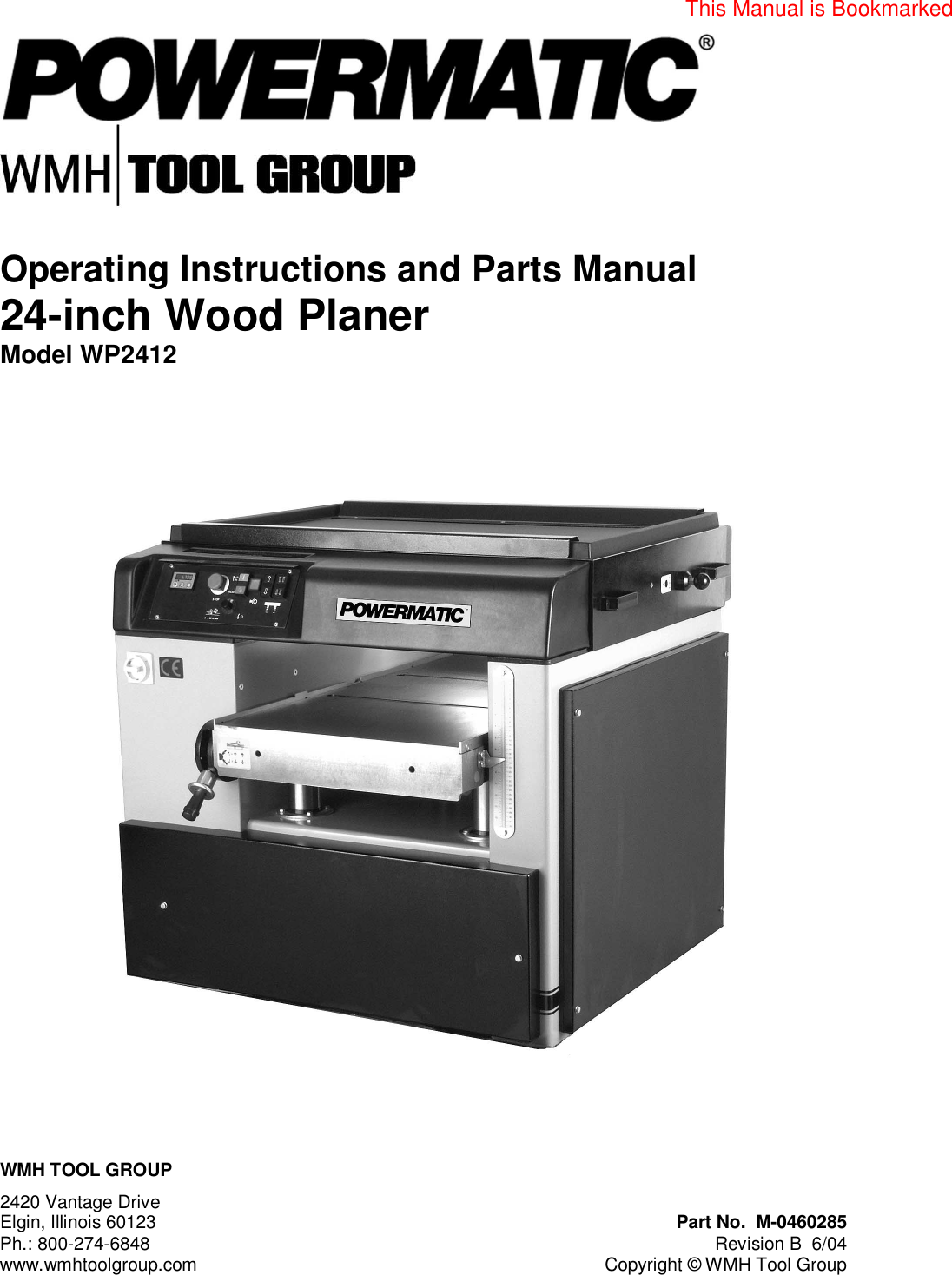 Powermatic planer 160 manual ebook array powermatic wp2412 users manual m 0460285 planer rev b rh usermanual wiki solutioingenieria Gallery