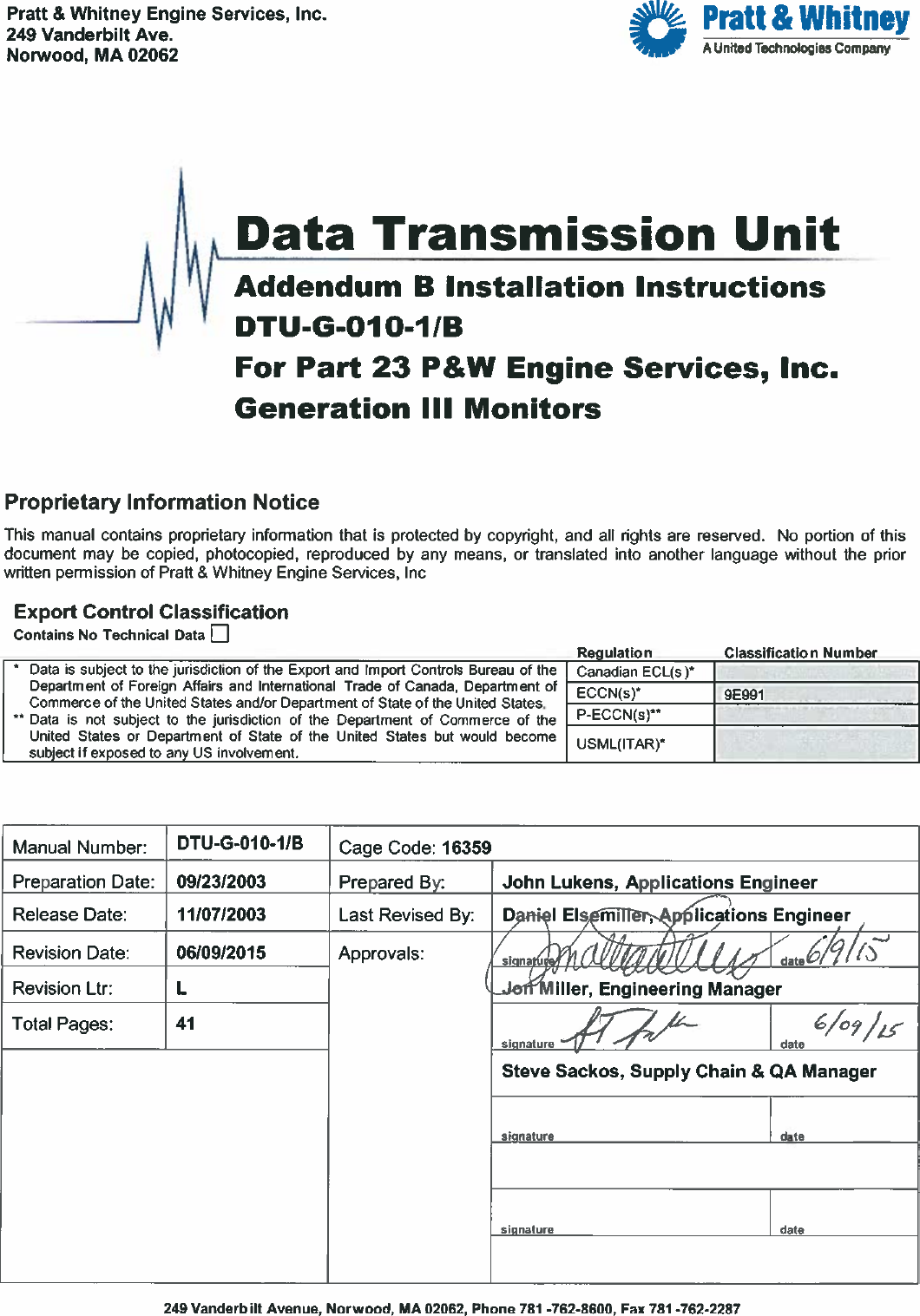Pratt And Whitney Engine Services Fast34e Flight Data Raytheon Wiring Harness Acquisition Storage Transmission User Manual Dtu G 010 1 B