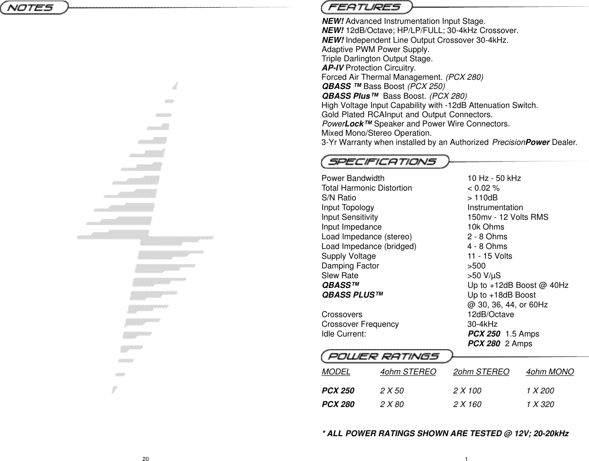 Precision Power Pcx 250 Users Manual Subwoofer Wiring Diagram Page 2 Of 12