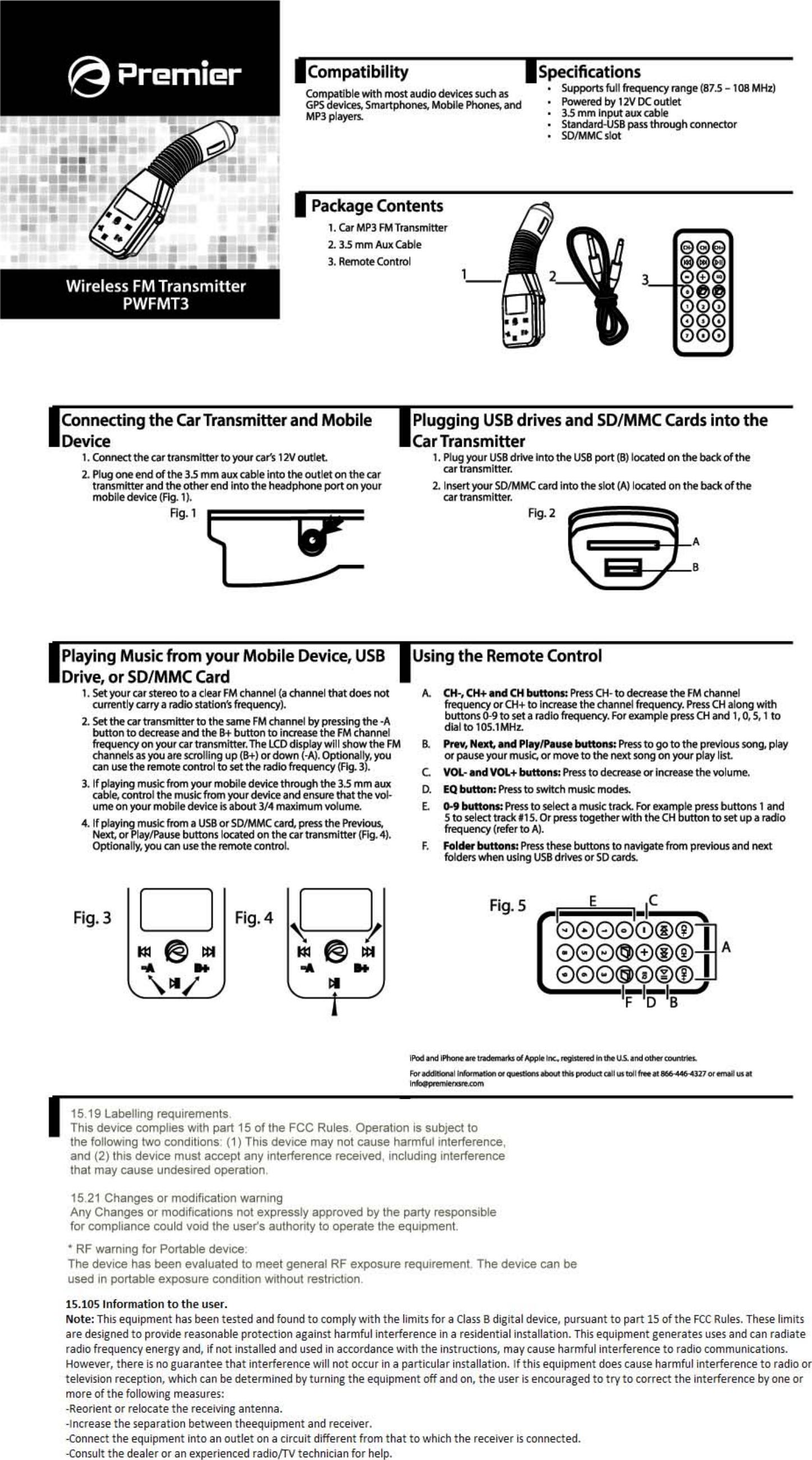 premier accessory group pwfmt3 fm transmitter user manual. Black Bedroom Furniture Sets. Home Design Ideas