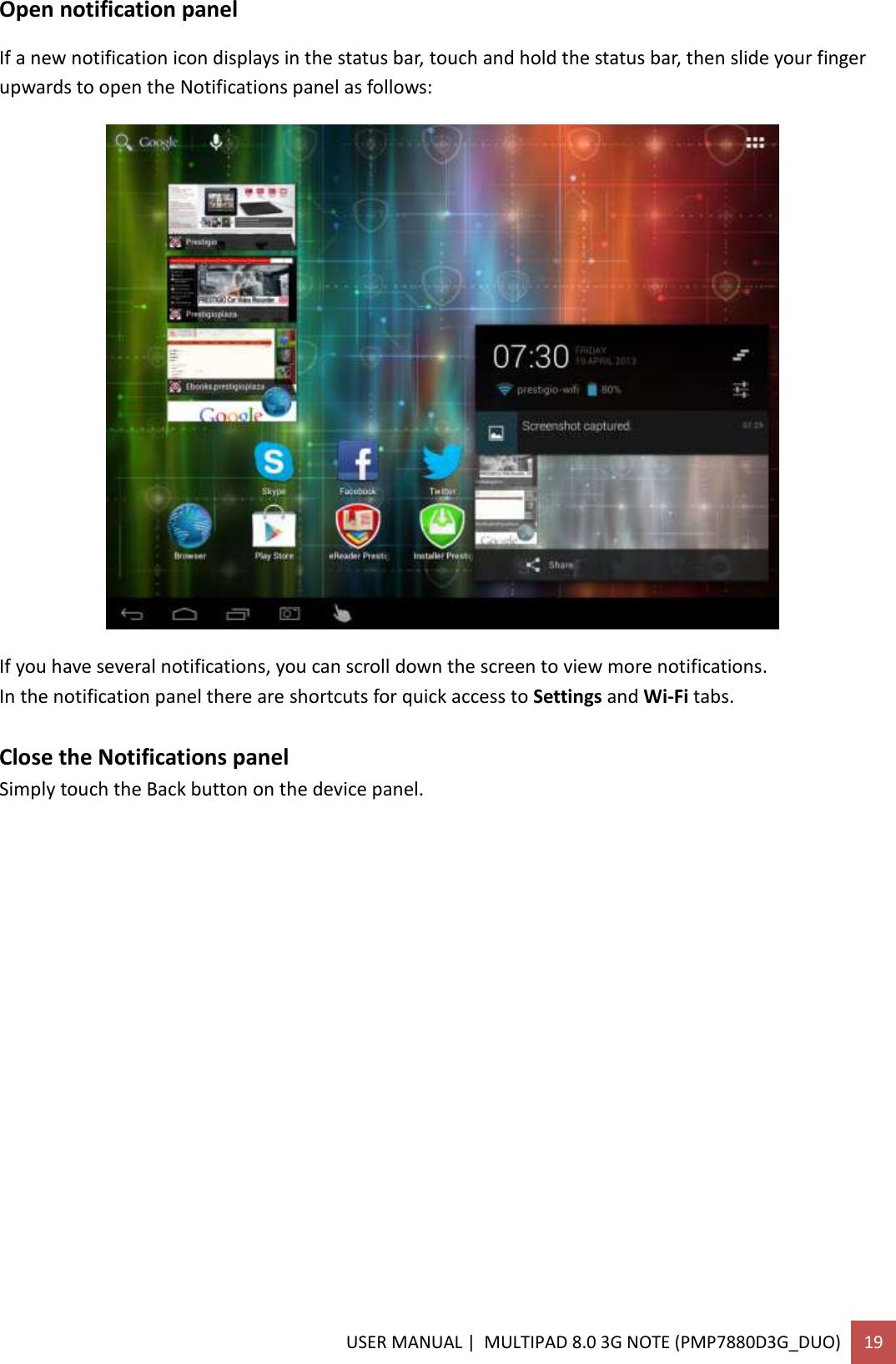 Prestigio Multipad 8 0 3G Note Operating Instructions
