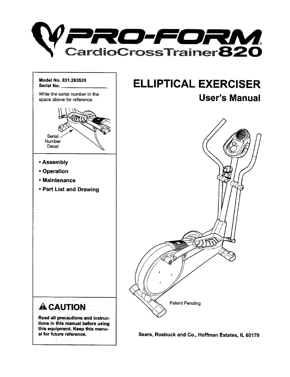 Proform 831283520 User Manual ELLIPTICAL Manuals And Guides L0312027