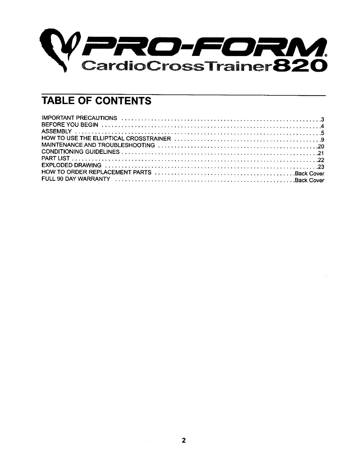 Proform 831283520 User Manual ELLIPTICAL Manuals And Guides