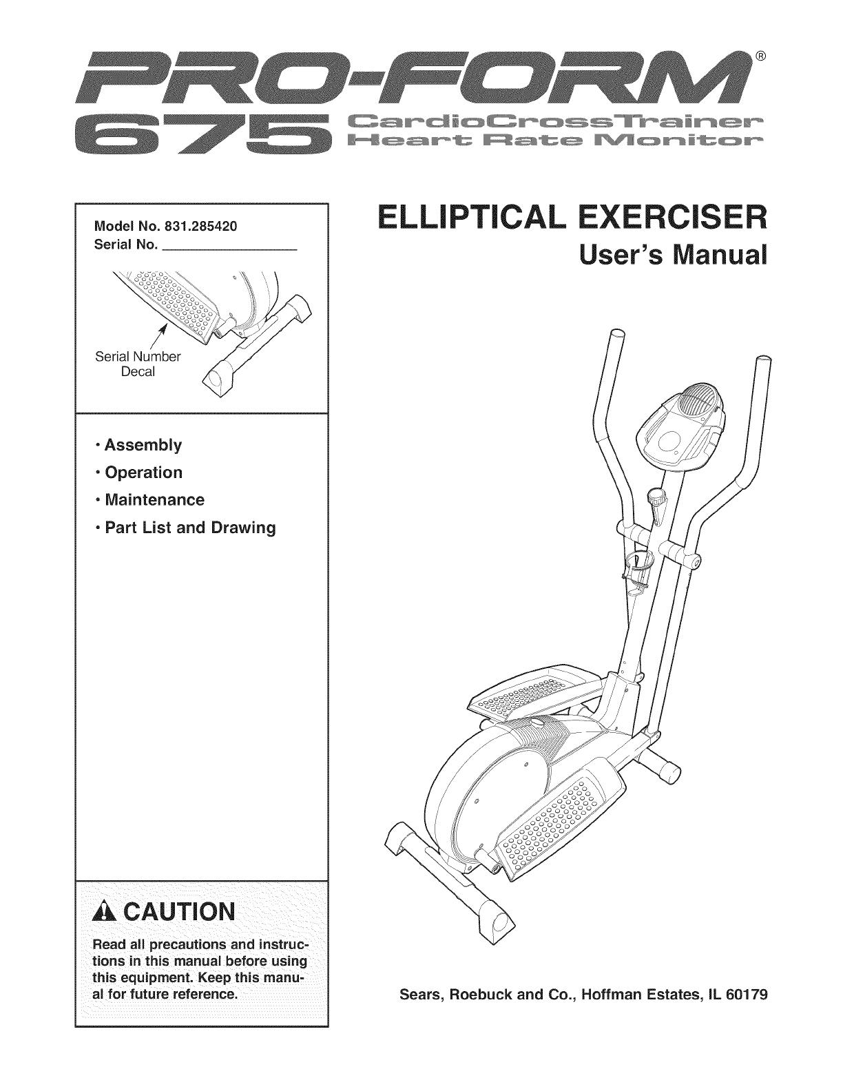 Proform 831285420 User Manual ELLIPTICAL Manuals And Guides