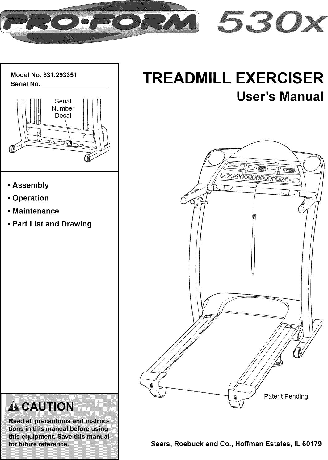 Proform 831293351 User Manual 530x Manuals And Guides L0811504 Treadmill Wiring Diagram