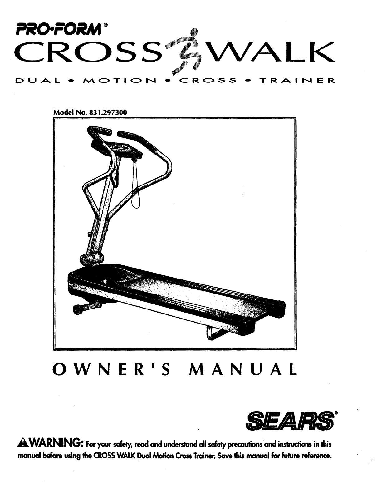 Proform 831297300 User Manual CROSSWALK PLUS TREADMILL Manuals And