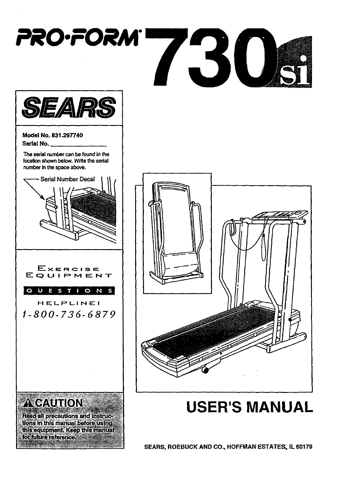 Proform 831297740 User Manual SPACE SAVER 730SI TREADMILL Manuals