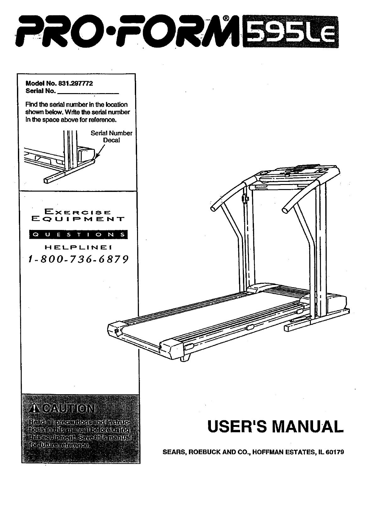 Proform 831297772 User Manual PRO FORM TREADMILL Manuals And