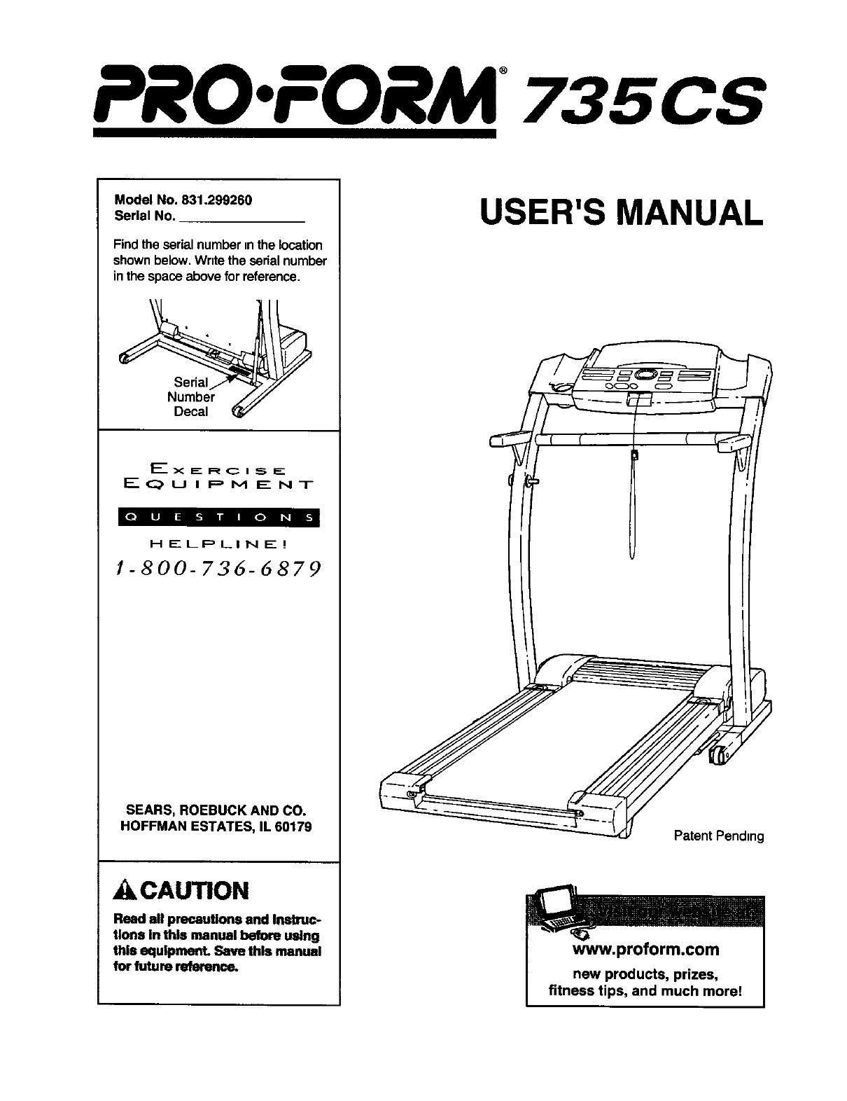 Proform 831299260 User Manual TREADMILL Manuals And Guides L0302230