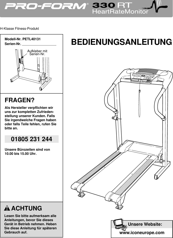 Proform Petl40131 330Rt Treadmill Users Manual *PETL40131 198261(GR)