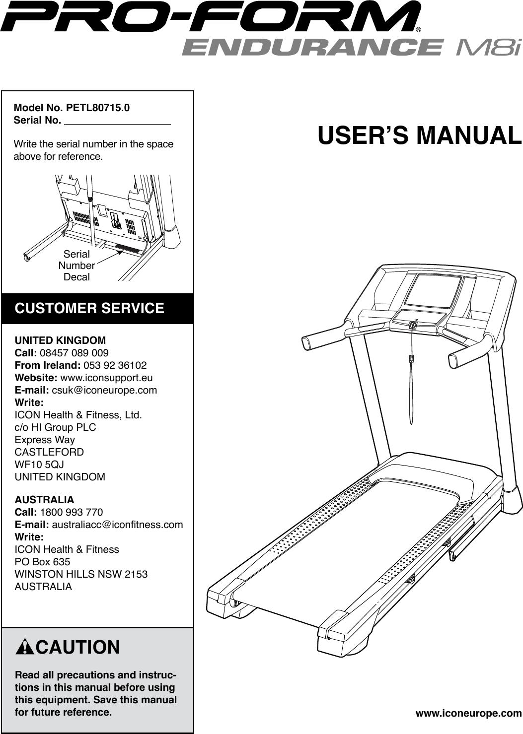 Proform Petl807150 Endurance M8I Treadmill Users Manual