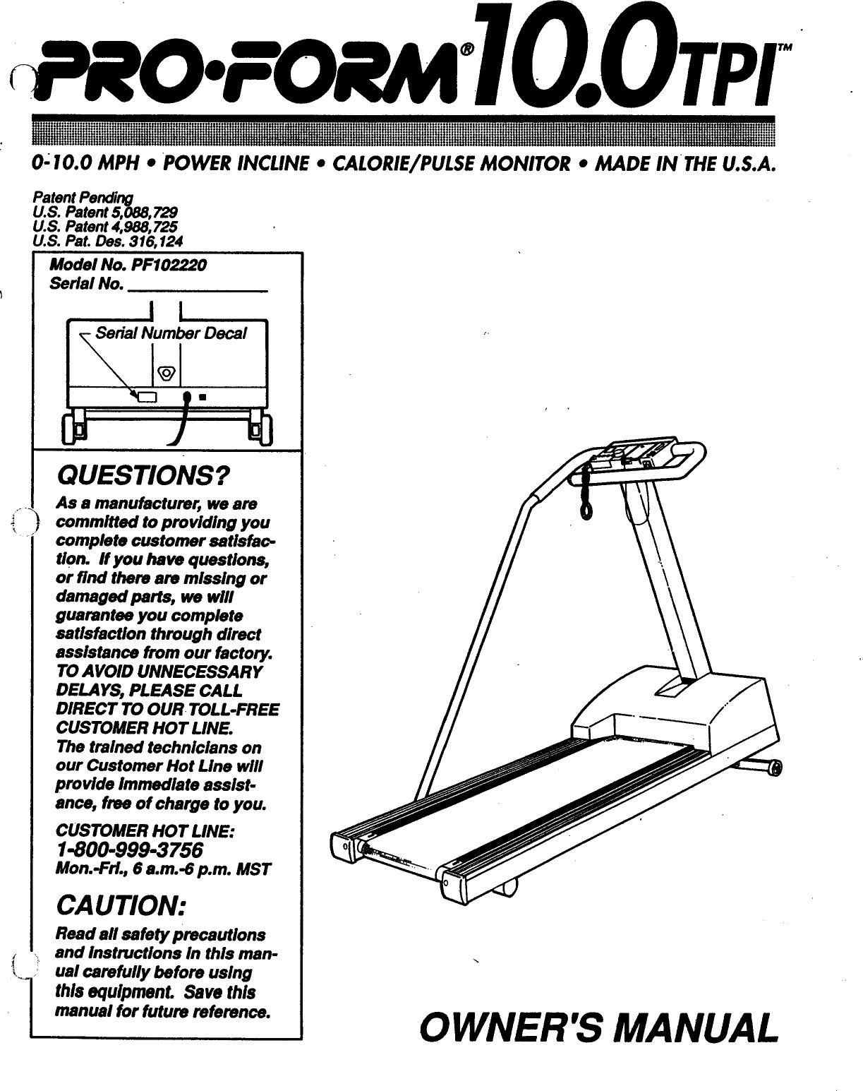 proform pf102220 10 0 tpi treadmill users manual rh usermanual wiki Avari Fitness Magnetic Manual Treadmill Treadmill Manuals Owners