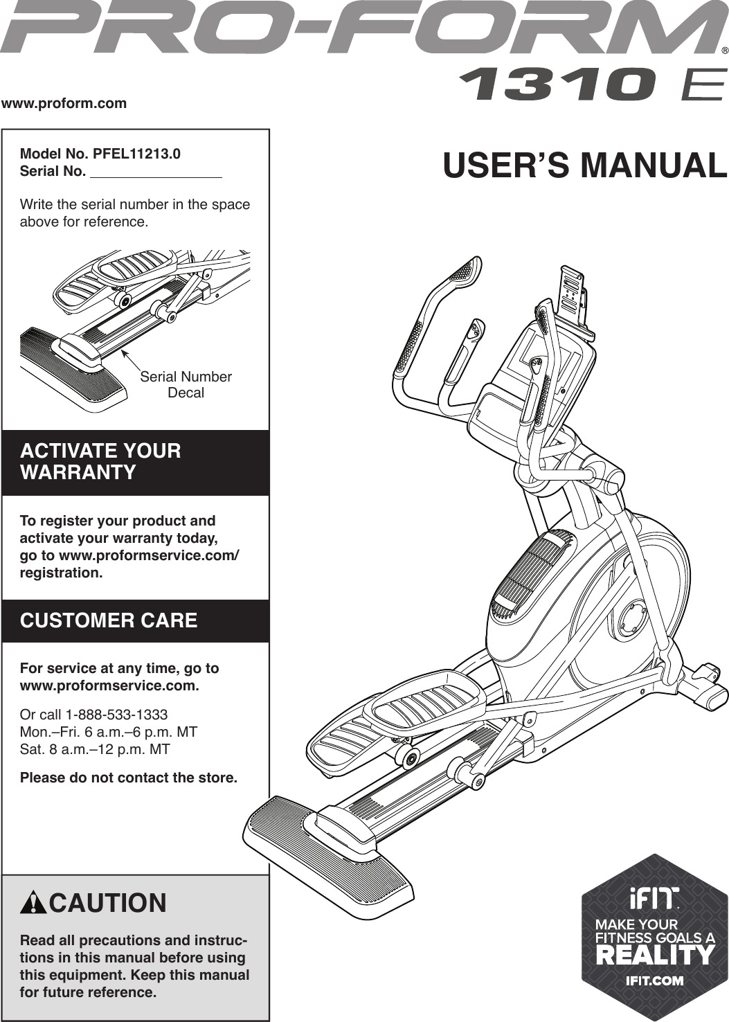 Proform Pfel112130 1310 E Elliptical Users Manual