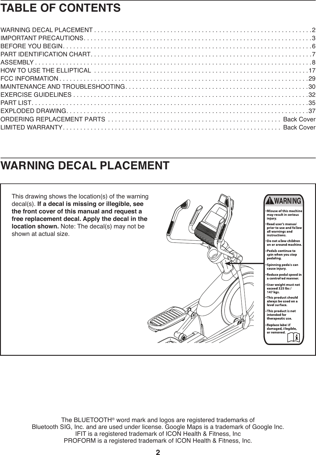 Proform Pfel579141 Endurance 720 E Elliptical Users Manual
