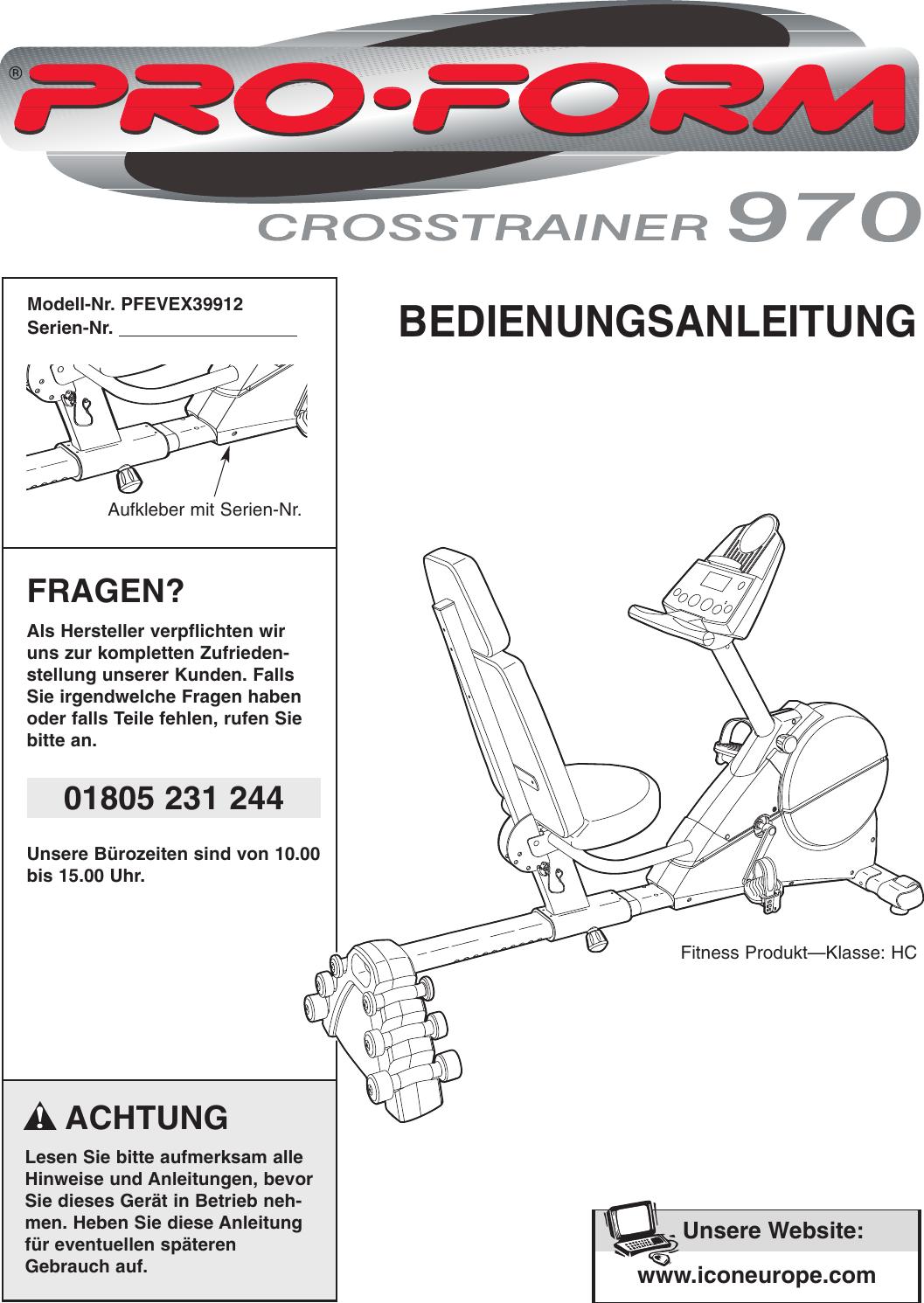 Proform Pfevex39912 Crosstrainer 970 Bike Users Manual !PFEVEX39912 ...