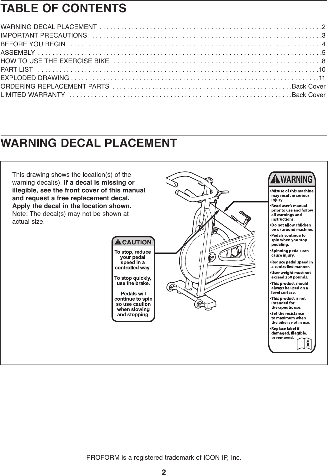 Proform Pfex029092 290 Spx Bike Users Manual 285430