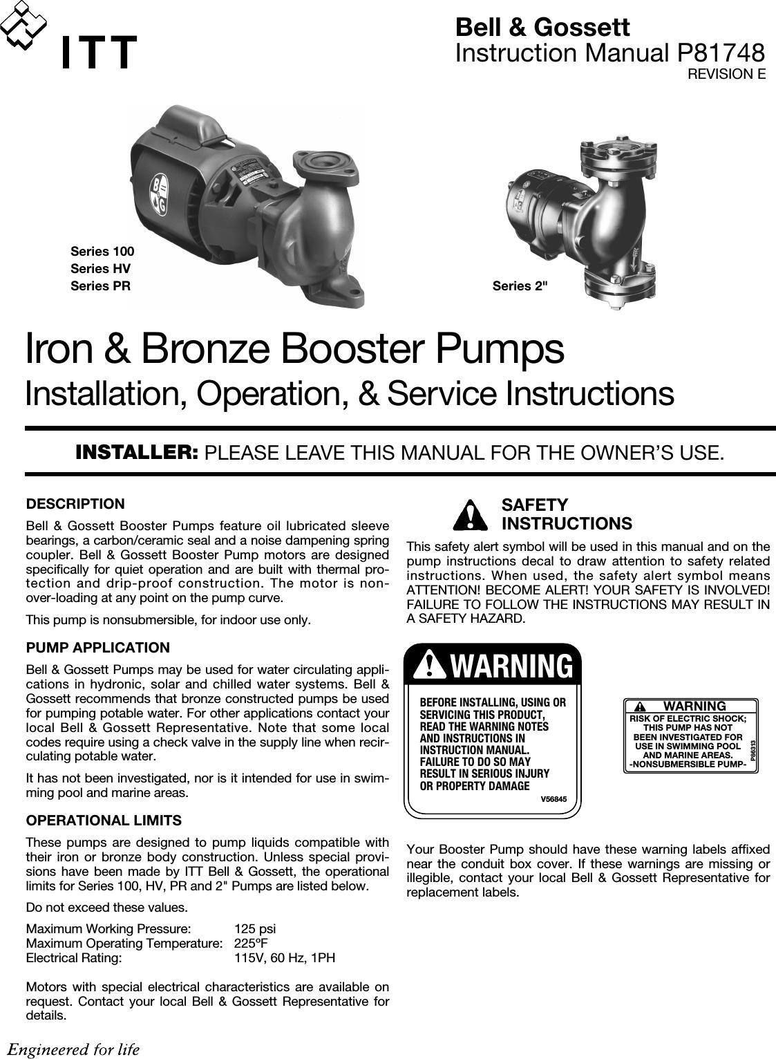 10335 2 Bg 105137 Install Manual P81748 11 07 User Bell Gossett Wiring Diagram