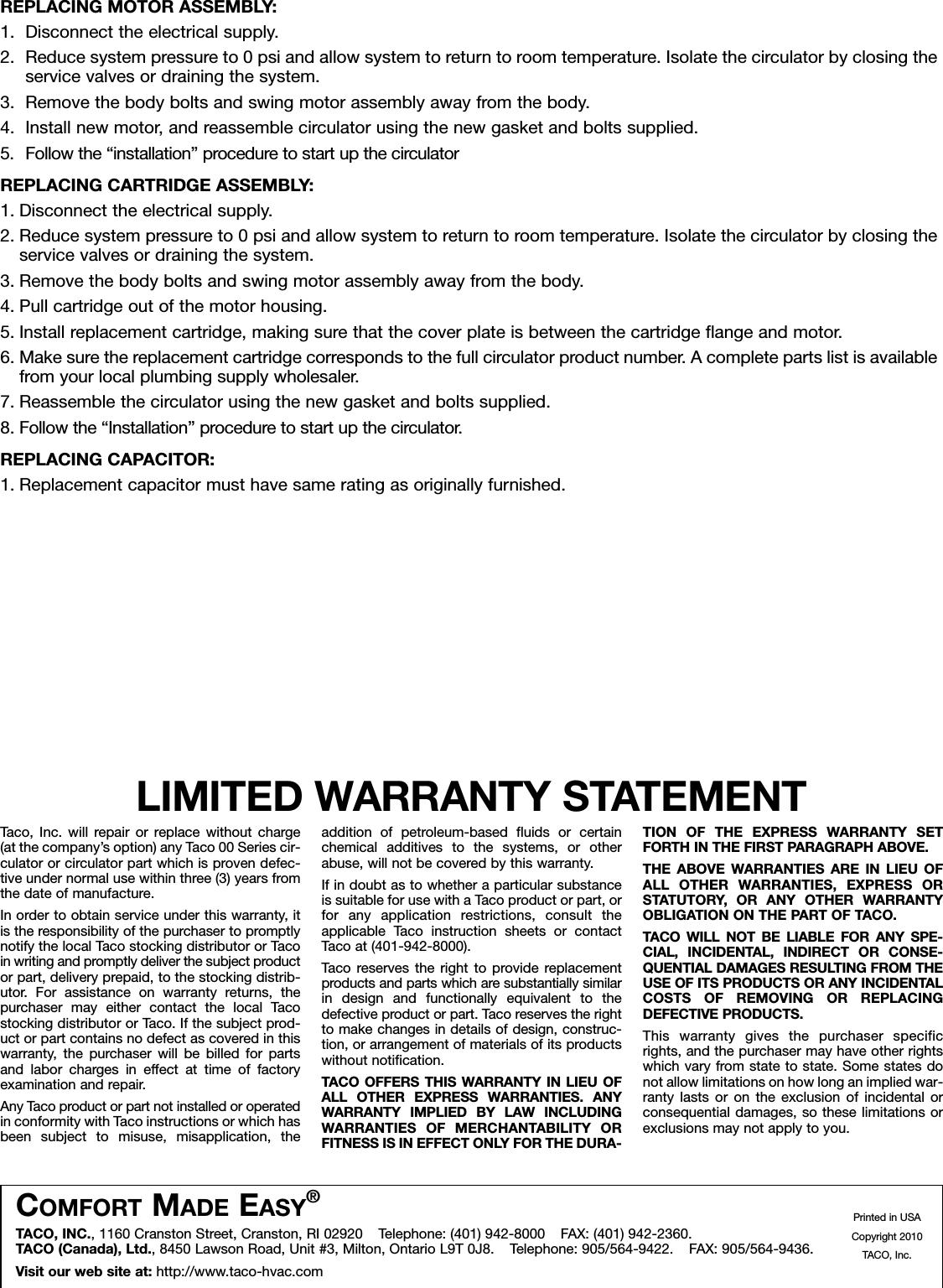 12508 3 Taco 0014 F1 1Ifc Instructions Assem1 Sheet1 User Manual